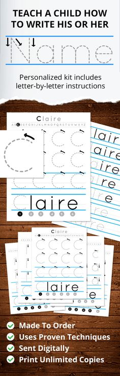 Custom Printables - Teach your child to write his or her name! This made-to-order packet is fully customized for your child's first name. Each letter is taught in simple steps and —most important— in context, ensuring your child has the opportunity to practice making the letters in their name in order.