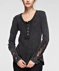 Another great find on #zulily! Black Lace-Sleeve Button-Front Top - Plus #zulilyfinds