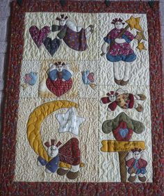 Angel Sampler applique country small quilt or wall by KerynsKraft, $8.00