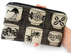 Large Zipper Pouch Cosmetic Bag ECO Friendly Padded -NEW Unique Tea Cups by JPATPURSES, $14.00