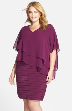 Adrianna Papell Tiered Chiffon & Shutter Pleat Jersey Dress (Plus Size) available at #Nordstrom