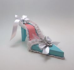 Large Tiffany Blue and Coral Starfish High Heel by apreciousmemory, $22.00