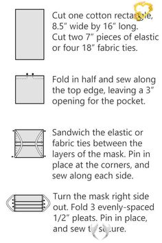 How to Sew a DIY Fabric Face Mask - Free Printable Pattern diagram showing how to sew fabric masks for hospitals<br> Free pattern to sew pleated surgical fabric face masks for hospitals or your own use. Make at home with elastic or fabric ties. Option for filter pocket. Easy Face Masks, Homemade Face Masks, Diy Face Mask, Nose Mask, Sewing Patterns Free, Free Sewing, Free Pattern, Pattern Sewing, Pattern Ideas