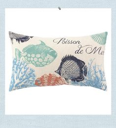 Saltwater Fish Pillow. Poisson de Mer in French means Saltwater Fish. The colors and texture were choosen for a summer state of mind. Shades of washed blues, greens, navy and red create a subtle, yet refreshing color palette, complimenting the natural texture of linen.