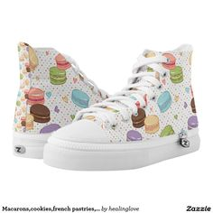 Macarons,cookies,french pastries,food hipster printed shoes
