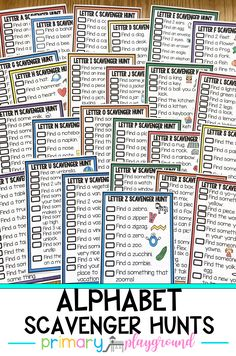 Use these fun alphabet scavenger hunts this year when introducing each letter! Send them home with your little learners and have them do them with their families to get everyone involved.  #alphabet #letters #scavengerhunt #kindergarten