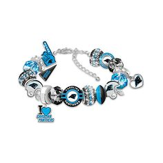 NFL Licensed Carolina Panthers Fan Beaded Charm Bracelet ($119) ❤ liked on Polyvore featuring jewelry, bracelets, holiday jewelry, bracelet bead charms, handcrafted beaded jewelry, handcrafted jewelry and beading charms