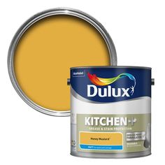 Dulux Kitchen Honey Mustard Matt Emulsion Paint - B&Q for all your home and garden supplies and advice on all the latest DIY trends Paint Color Schemes, Kitchen Colour Schemes, Kitchen Wall Colors, Wall Paint Colors, Mustard Yellow Paints, Mustard Walls, Mustard Kitchen, Mustard Wallpaper, Wall Painting Living Room