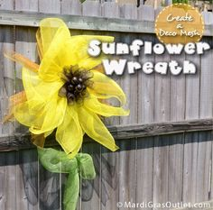 Create a Deco Mesh Sunflower Wreath