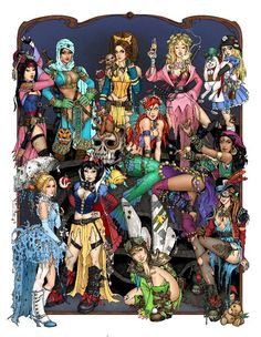 Apocalypse Princesses---Mulan, Jasmin, Belle, Aurora (Sleeping Beauty), Alice, Cinderella, SnowWhite, Ariel, Esmeralda, Wendy and Tinkerbell.  (took me awhile to figure out it was Wendy...)