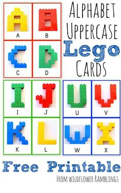 Alphabet Lego Cards - Uppercase {free printable!} - Wildflower Ramblings.  include in building area when legos are out