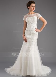 Trumpet/Mermaid Scoop Neck Court Train Tulle Wedding Dress With Lace Sequins (002035871)