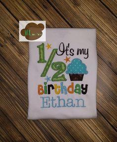 Its My 1/2 ( Half ) Birthday cupcake onesie on Etsy, $20.00