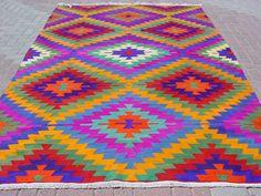"VINTAGE Turkish Area Rug Kilim Carpet, Handwoven Kilim Rug, Antique Rug,Decorative Rug, Natural Wool  77,5"" X 124,8"""