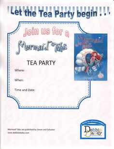 Tea party invitation for A Royal Tea (Mermaid Tales #9 from Simon and Schuster) by author Debbie Dadey www.debbiedadey.com
