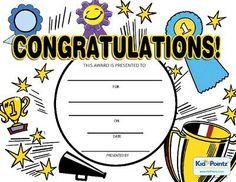 Printable Congratulations Award   Kid Pointz