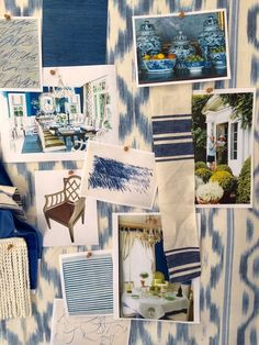 Mark D Sikes pin board color stories - gorgeous blue and white - coming together. Blue And White Living Room, Blue And White Fabric, Blue Fabric, White Rooms, White Fabrics, Mark Sikes, Pattern Mixing, Pattern Art, Color Stories