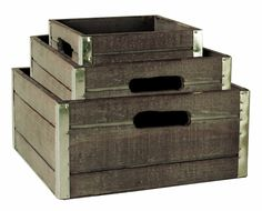 Wood Crates with Galvanized Metal Trim. Set of 3. Use for storage, transport or display. http://www.farmersmarketonline.com/marketsupply.htmWood Crates with Galvanized Metal Trim. Set of 3. Use for storage, transport or display. http://www.farmersmarketonline.com/marketsupply.htm