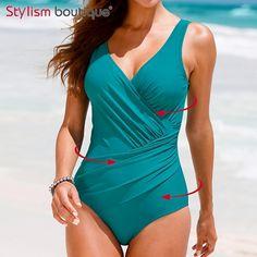 Plus Size Swimwear Women 1 One Piece Swimsuit Solid Surplice Swimwear Vintage Bodysuit Bathing Suits Black