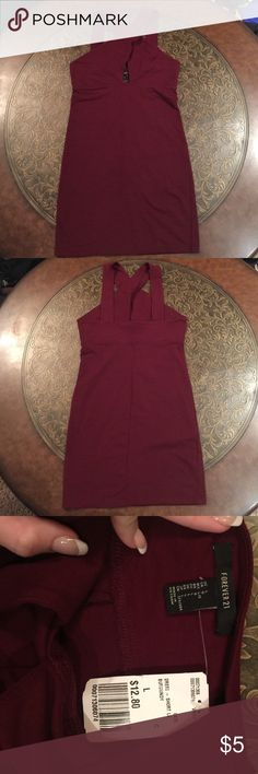 Maroon Dress Cotton crisscross front dress. NWT. Size large, but could fit a medium maybe even a small (might be loose). Accepting offers! Forever 21 Dresses