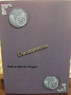 Caixa em MDF para guardar documentos - masculina - decorada com arabescos e fita de cetim azul