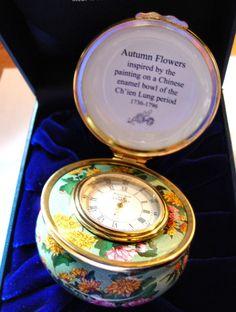 "STUNNING Halcyon Days Enamel Clock Box ""Autumn Flowers"" Ch'ien Lung Period Autumn Flowers, Halcyon Days, Enamels, Trinket Boxes, Period, Clock, Antique, Fall Flowers, Watch"