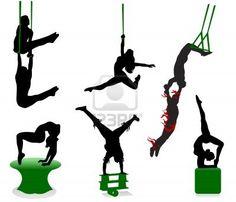 Siluetas de los artistas de circo. Acróbatas y malabaristas. Foto de archivo - 5236436