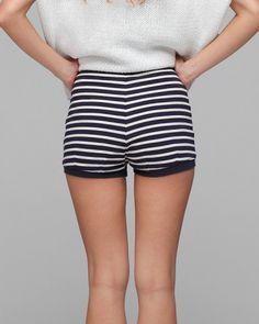 Vintage Americana-inspired striped cotton bloomer shorts from Thom Dolan. Features fine ribbed waist and hems and high-waisted fit.