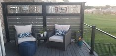 Custom privacy wall by All Decked Out in Cincinnati, Ohio. Privacy Wall On Deck, Privacy Screen Outdoor, Privacy Walls, Backyard Privacy, Deck Privacy Screens, Outdoor Rooms, Outdoor Living, Outdoor Kitchens, Decks And Porches