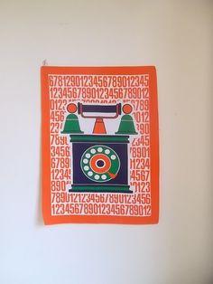 1970s Vintage tea towel, retro tea towel, telephone illustration teatowel, cotton viscose retro tea towel on Etsy, $20.00