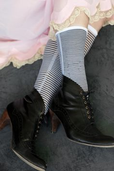 these sweet socks were ruched along their sides and could be worn long and sleek or short & ruched.
