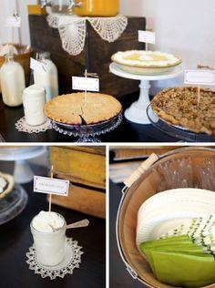 Farm Boy Baby Shower Pie Table #babyshower #pietable #farmboy