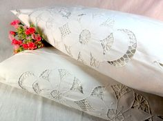Antique embroidered cotton pillowcase  Hand embroidered by FediyS