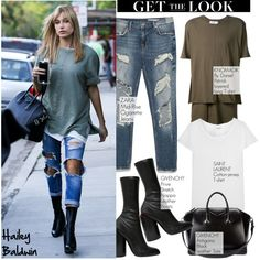 Get the Look: Hailey Baldwin by helenevlacho on Polyvore featuring Yves Saint Laurent, Zara, Givenchy, Baldwin, GetTheLook, StreetStyle, CelebrityStyle and haileybaldwin