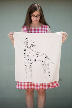 Pre Order Dalmatian Tea Towel Printed with Eco by Gingiber on Etsy, $18.00