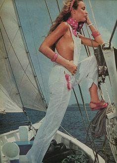 Jerry Hall in Harper's Bazaar.
