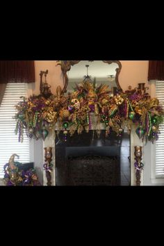 """One of my friends """"Mardi~Gras"""" decorated mantle. - One of my frie. - One of my friends """"Mardi~Gras"""" decorated mantle…GORGEOUS! – One of my friends """"Mardi~ - Mardi Gras Food, Mardi Gras Carnival, Mardi Gras Party, Mardi Gras Centerpieces, Mardi Gras Decorations, Christmas Decorations, Mardi Gras Outfits, Mardi Gras Costumes, New Orleans Christmas"""