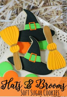 Decorated soft sugar cookies featuring witch hats and brooms - perfect Halloween cookies for your fall parties! Step-by-step directions to make your own.