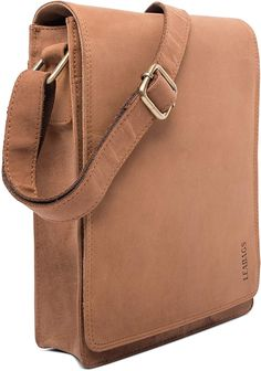 cc97e3cbf Amazon.com: LEABAGS Dover crossbody bag shoulder bag for 10 inch tablet leather  bag in vintage style - Brown: Clothing