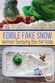 This combination of flour and oil makes edible fake snow that kids will love to play in and mold. What a great base for a Winter sensory bin for little ones. This combination of flour and oil has many uses as a sensory base. It is a really wonderful Edible Sensory Play, Baby Sensory Play, Sensory Bins, Sensory Activities, Infant Activities, Baby Play, Indoor Activities, Activities For 1 Year Olds, Crafts For 3 Year Olds