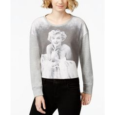 Marilyn Monroe Juniors' Marilyn Graphic Pullover Sweatshirt ($8.99) ❤ liked on Polyvore featuring tops, hoodies, sweatshirts, grey, graphic pullover, graphic tops, graphic pullover sweatshirts, gray top and grey pullover