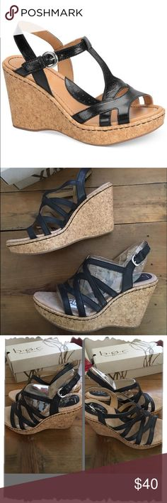 """Born Concept Eponine Black Wedges Born Concept Eponine Black Wedges. Comes with box. Great condition! Worn once. Only wear is on bottom of soles. (See pic). Open toe. Leather upper. Cork wedges. 4"""" with 1"""" platform. Rubber soles, great traction. So comfy and versatile. Perfect summer shoes. #sandals, #casual, #work, #sale B.O.C Shoes Wedges"""