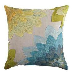 Layered Floral Applique Pillow