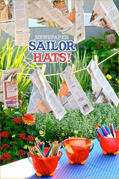 preppy beach party: kids can decorate sailor hats made of newspaper Girl Birthday, Birthday Parties, Kid Parties, Pirate Birthday, Themed Parties, Pirate Party, Birthday Ideas, Rain Gutter Regatta, Sailing Party
