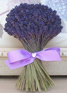 Lavender Bouquet of fake flowers to sit on the dining room table ~ Kitchen colors: Lavender, Moss Green, and Wood. Lavender Cottage, Lavender Garden, Lavender Blue, Lavender Fields, Lavender Room, French Lavender, Lavender Bouquet, Dried Flower Bouquet, Lavender Flowers