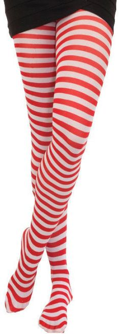 Red And White Striped Tights Pantyhose Elf Clown Christmas Rag Doll Costume  #LegAvenue #Tights