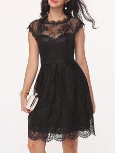 #Fashionmia - #Fashionmia Hollow Out Lace Plain Graceful Crew Neck Skater-dress - AdoreWe.com