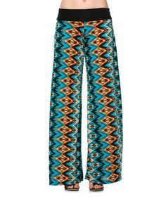 Look at this Dare Royal & Blue Geometric Palazzo Pants on #zulily today!