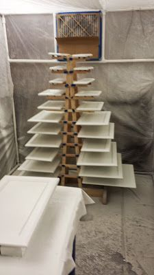 A quick and simple drying rack for when painting a lot of things at once like kitchen cabinet doors.