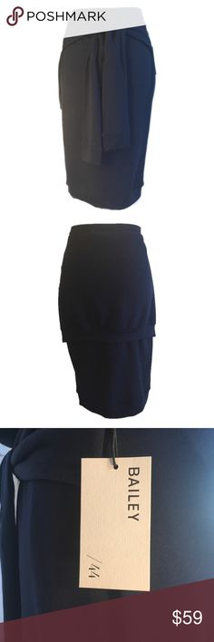 """New Bailey44 Navy Blue Wrap Sweatshirt Skirt Large Fantastic faux wrap skirt in super soft sweatshirt material. Looks great with a white V-neck T. New. No flaws. The fit is straight and easy, but not baggy. Care and fabric content in photos.  Apx flat measurements are:  Waist-16-20"""" elastic  Hips-18"""" Total Length-27.5""""  Smoke free home Bailey 44 Skirts"""